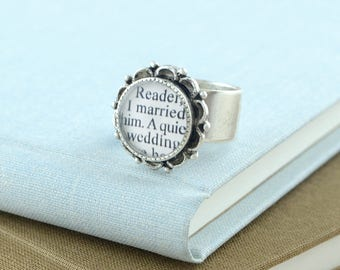 Jane Eyre Ring / Jane Eyre Quote / Jane Eyre Jewelry / Literary Weddings / Book Themed Wedding / Bookish Anniversary Gifts / Book Quote