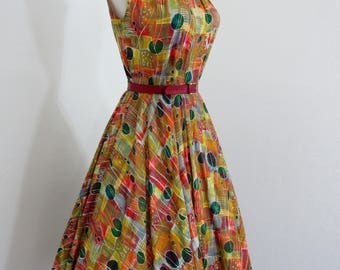 1950s Colorful Modernist Print Cotton Sundress with Full Circle Skirt