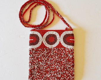 Beaded shoulder bag red and white