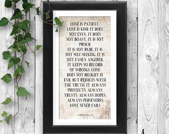 Love Never Fails Typography, 1 Corinthians 13, Love is Patient, Love is Kind Farmhouse Poster, 1 Corinthians Bible Verse, Wedding