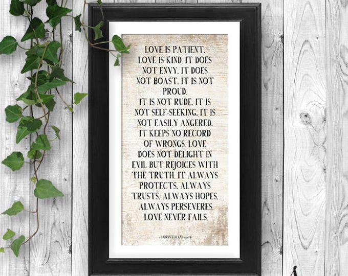 Featured listing image: Love Never Fails Typography, 1 Corinthians 13, Love is Patient, Love is Kind Farmhouse Poster, 1 Corinthians Bible Verse, Wedding