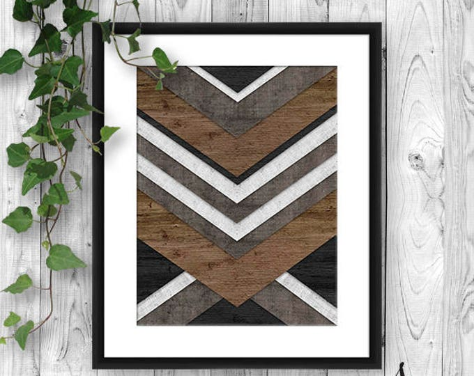 Featured listing image: Chevron Art Print, Faux Wood Chevron Art Print , Chevron Art Print, Wood Chevron, Faux Bois Wood Art Print, Wall Art Poster Print