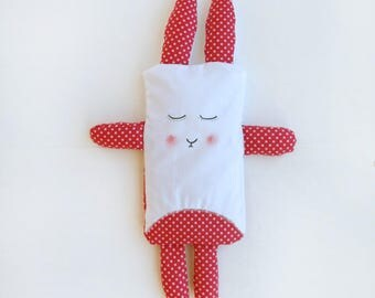 Baby heat pad rabbit with organic rice and linen for babies and mums // red rabbit toy // new-born gift // cooling pad