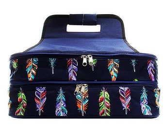 Personalized Casserole Carrier Navy Feathers