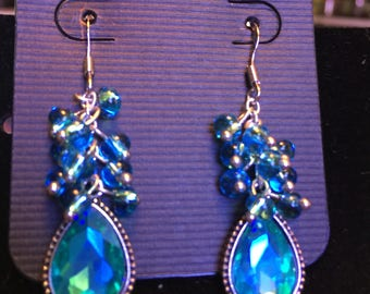 Aqua blue glass beaded dangle earrings, One of a Kind Beaded Jewellery Gift for Her