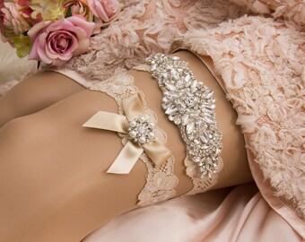 Champagne Wedding Garter set, Crystal Bridal Garter Set with Crystal Applique, Bridal Shower Gift, Wedding Gift