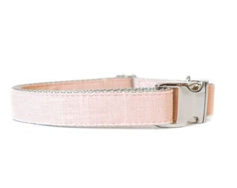 Blush Linen Dog Collar - Pale Baby Pink Wedding or Everyday Dog Collar for Small and Large Dogs - Brass or Nickel Metal Buckle
