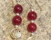 Celtic carnelian drop earrings