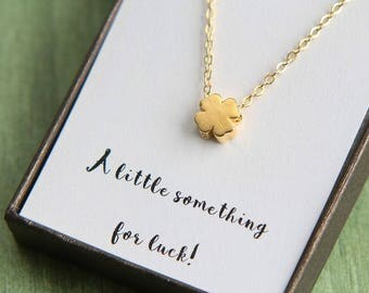 Back to school gift, Back to College Necklace, Lucky Clover Necklace, Gold Four Leaf Clover Necklace, A little something for luck Necklace