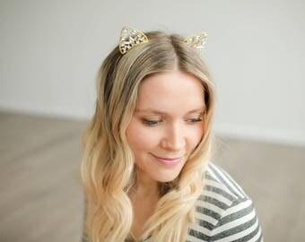 Kitty Ear Headband || Kitty Princess || Gold Crown Headband || Birthday Gift For Her