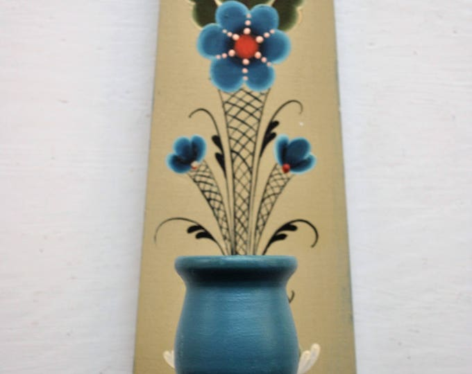 Antique Norwegian Os Rosemaling Wall Candle Holder 1982 Signed