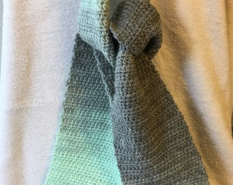 Handmade Crochet Mint/Silver Ombré Soft Lofty Long Fashion Scarf