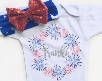 Personalized 4th of July Shirt, Girls fourth of July top, Kids 4th of july t-shirt, baby girls 4th of July bodysuit, baby 4th of july shirt