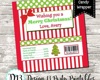 Christmas Red Striped Candy Bar Chocolate Bar Wrappers Favor Print Your Own Digital