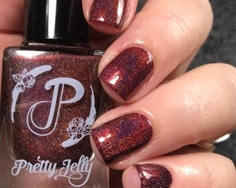 Red Nail Polish, Holographic Nail Lacquer, Indie Nail Polish, Burgundy Fall Nail Color, Gift For Her, Vegan, The Mistress of Murderer's Row