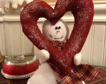 Valentine's Decoration, Valentine Snowman with Big Heart, Valentine Heart
