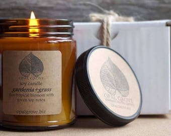 Opal Grove 9oz. gardenia+grass soy candle