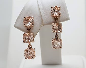 2.86ctw Morganite 14kt Rose Gold 3 Stone Drop Dangle Earrings