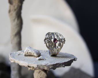 Silver art deco ring with garnet, silver art nouveau ring, silver filigree garnet, filigree silver jewelry, art deco classical ring, classic