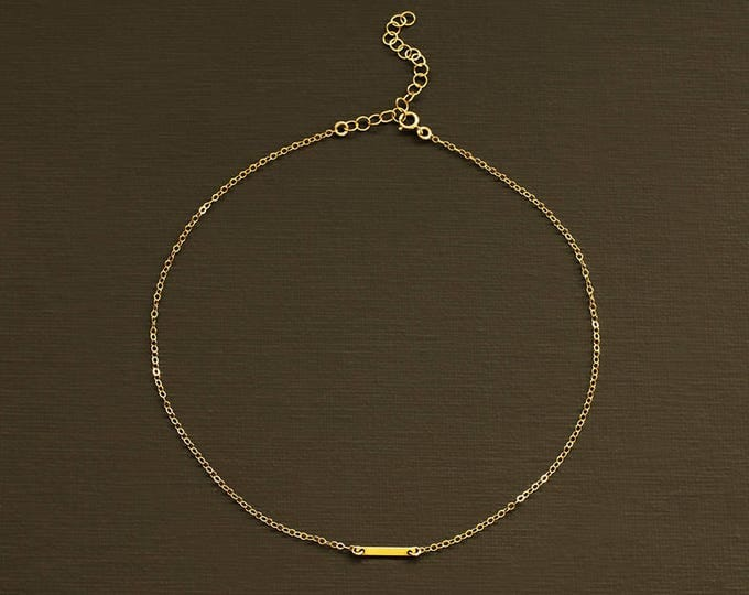 Gold Bar Choker - Delicate Choker Necklace
