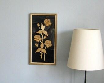 Straw Flowers - 10x20 Vintage Framed Art - Lithuanian Folk Art - Long Stem Roses on Black Background - Floral Home Decor - Straw Marquetry