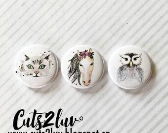 "3 Badges 1"" Amis animaux 2"