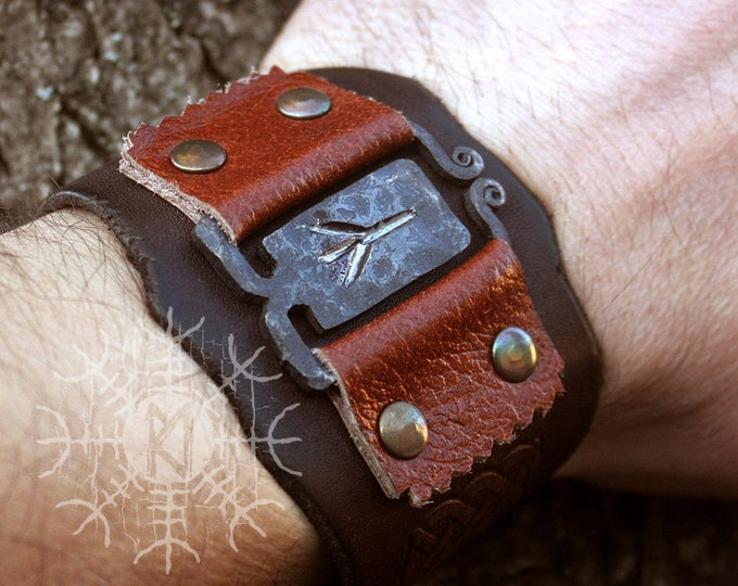 NEW ITEM! ~ Forged Iron Algiz Rune Viking Handmade Leather Bracelet