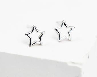 Sterling Silver Star Earrings • Silver Star Studs • Dainty Silver Studs • Star Stud Earrings • Star Jewellery • Tiny Studs • Christmas Studs