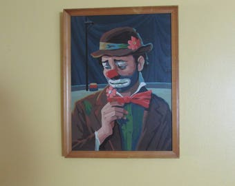 Vintage Emmett Kelly, Given Name Leo Kelly A.K.A. Framed Paint By Number Painting. Wallhanging.