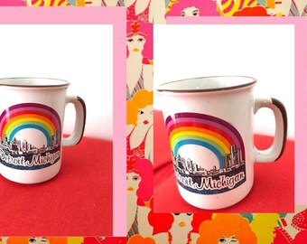 70's Vintage Michigan Rainbow Mug