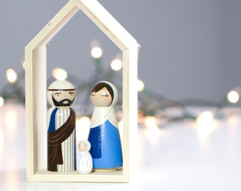 Christmas Nativity Set - Nativity Scene - Nativity - Peg Doll Nativity - Wooden Nativity Set and Stable - Christmas - Holiday Decor
