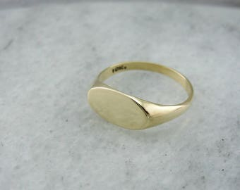 Polished East to West Set Gold Signet Ring, Ready to Engrave Plain Signet Ring, Yellow Gold Signet, Vintage Signet Ring JJ711W-D