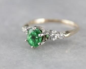 Stunning Tsavorite Garnet Anniversary Ring, Garnet and Diamond Ring, Vintage Garnet Ring, Tsavorite Garnet Engagement Ring Y1HHUL-N