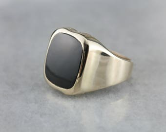 Men's Black Onyx Statement Ring, Mid Century Onyx Ring, Vintage Onyx Ring, Men's Jewelry 78NMEF-D