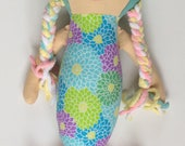 mermaid doll, mermaid, handmade doll, doll, ragdoll