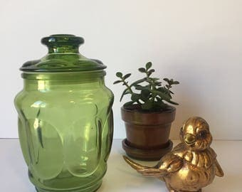 Vintage Apothecary Jar, Green Glass Canister, Mid Century Kitchen, Kitchen Storage  Container,
