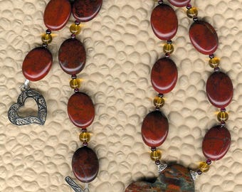 In The Mood - Brecciated Jasper Heart Pendant, Poppy Jasper, Citrine, Garnet,, Sterling Silver Necklace Valentine Love Birthday Mother's Day