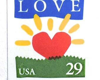 5 Vintage Love Postage Stamps // RARE Unused LOVE Sunrise Postage Stamps for Mailing
