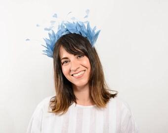 Hellisay - Blue Feather Hairband, Bridal hairband, ballet headpiece, blue feather wedding headpiece, wedding guest headpiece, blue headband