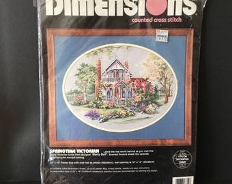 "Dimensions Counted Cross Stitch Kit SpringTime Victorian 1994 opened 12"" x 16"""