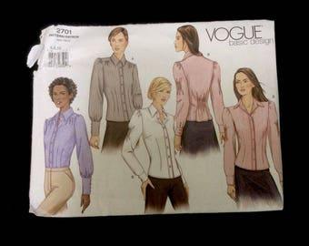 Vogue Pattern Basic Design 2701 Size 6 8 10 Blouse UNCUT