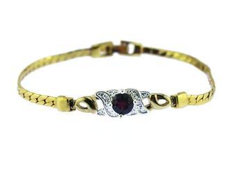 Gold and Rhinestone Bracelet, Gold Chain Bracelet with Large Red Rhinestone, Gold and Ruby Bracelet