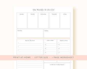 Weekly Planner Printable, Weekly Schedule Printable Planner Pinterest Planner One Page Agenda Undated Planner To Do List Printable List