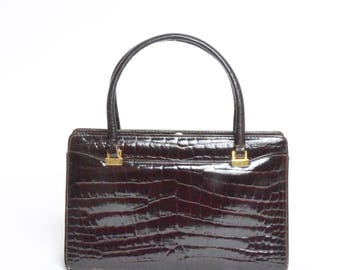 Vintage 90's  Brown Leather Handbag Purse with Alligator Print