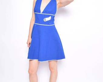 Vintage 90's Halter Mini Dress / Blue Sleeveless Flared Dress - Size Medium