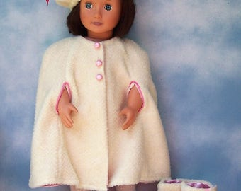 Victorian Cape Winter White Velour Mid Century 18 inch doll Ritz Creations Shoppe Addy's Perfect Clothes Samantha