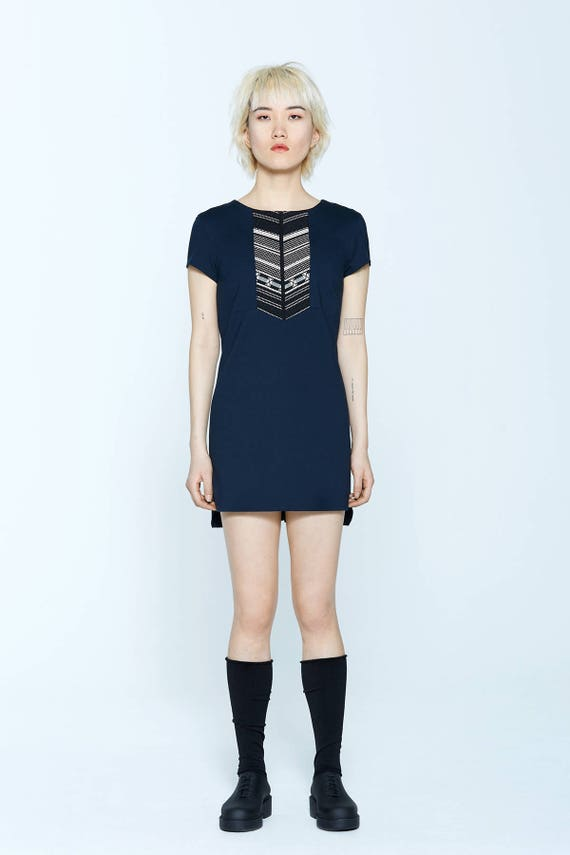 BRANDY - shorts sleeves trapeze tunic, short tailoreddress - navy blue