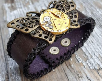 Steampunk Butterfly Leather Wristband Cuff -Steampunk Brown Gold Bracelet-Steampunk cuff-steampunk Girlfriend Ladies gift