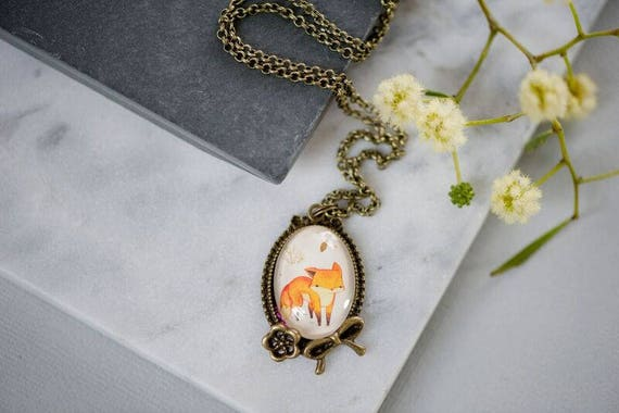 FREE SHIPPING - Bronze or Silver Vintage Fox Pendant Necklace - Antique Inspired Gift for Women Woman