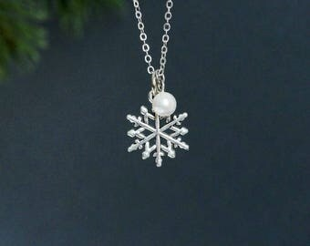 Snowflake Necklace White Pearl Snowflake Pendant Silver Snowflake Jewelry Winter Necklace Christmas Necklace Delicate Charm Necklace Snow